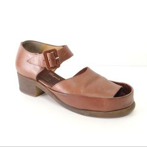 Robert Clergerie Brown Peep Toe Mary Jane Shoes